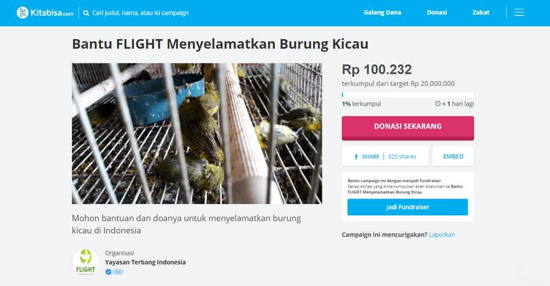 Penggalangan dana Yayasan Terbang Indonesia atau Flight (Kitabisa.com)