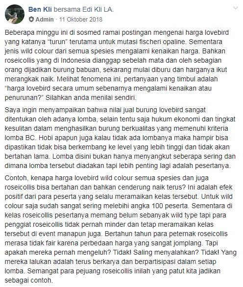 Screenshot Penjelasan Ben KLI tentang Harga Lovebird Turun (facebook.com)