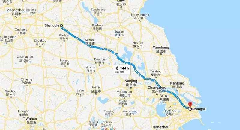 Jarak tempuh dari Kota Shangqui ke Shanghai (shanghai.ist)