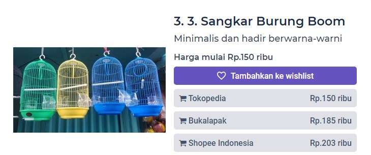 Harga Sangkar Burung Boom (productnation.co)