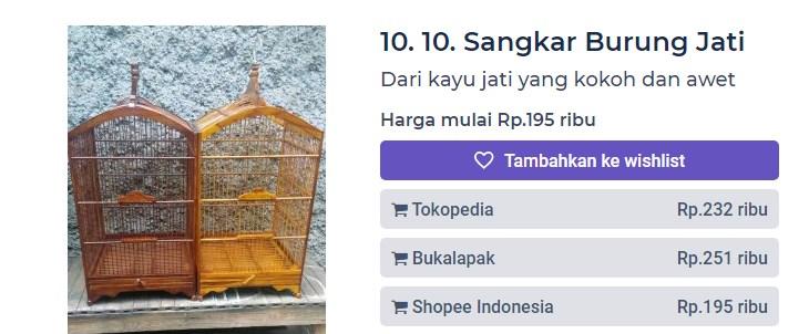 Harga Sangkar Burung Jati (productnation.co)
