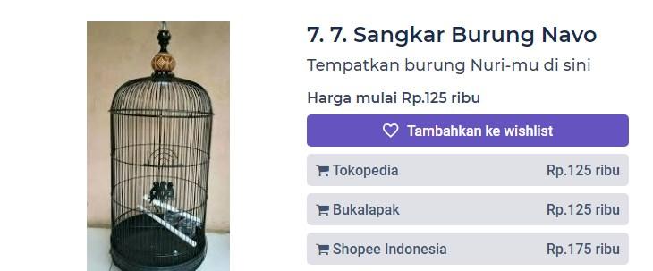 Harga Sangkar Burung Navo (productnation.co)