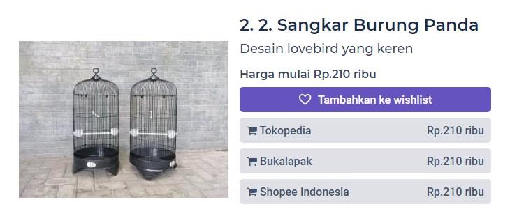 Harga Sangkar Burung Panda (productnation.co)
