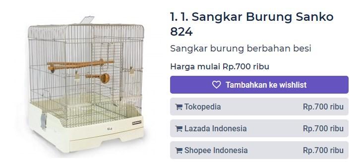 Harga Sangkar Burung Sanko 824 (productnation.co)