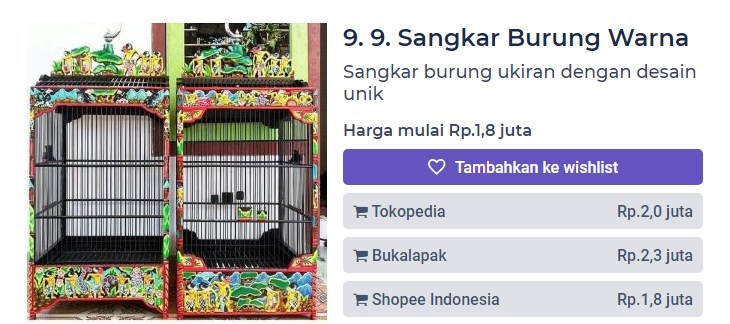 Harga Sangkar Burung Warna Ukiran Jati (productnation.co)