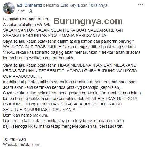Postingan Edi Dhinarfiz (facebook.com)