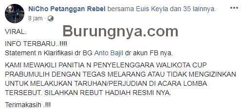 Postingan NiCho Petanggan Rebel (facebook.com)