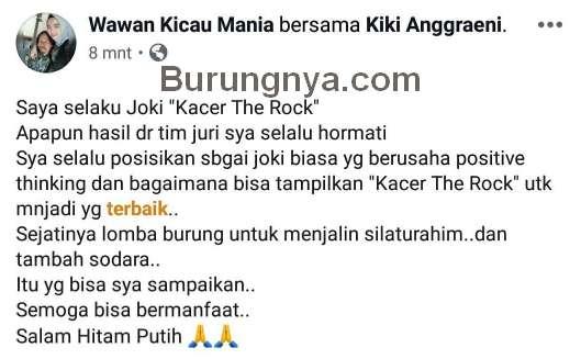 Postingan Wawan Kicau Mania (facebook.com)