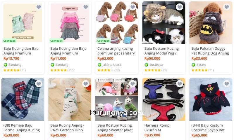 Baju Pakaian Kucing Lucu (tokopedia.com)